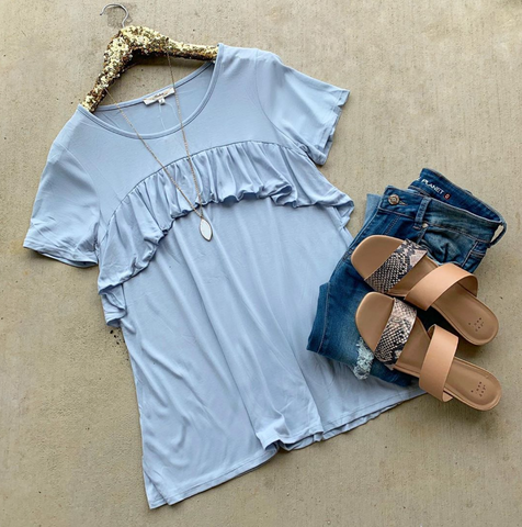 Flutter My Heart Blue Top