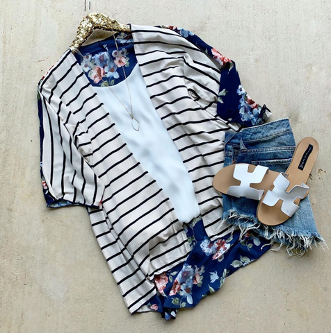 Stripes and Floral Blue Kimono