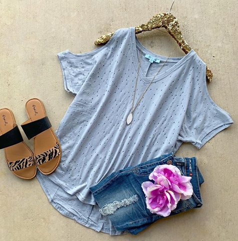 Assist Me Distressed Blue Top