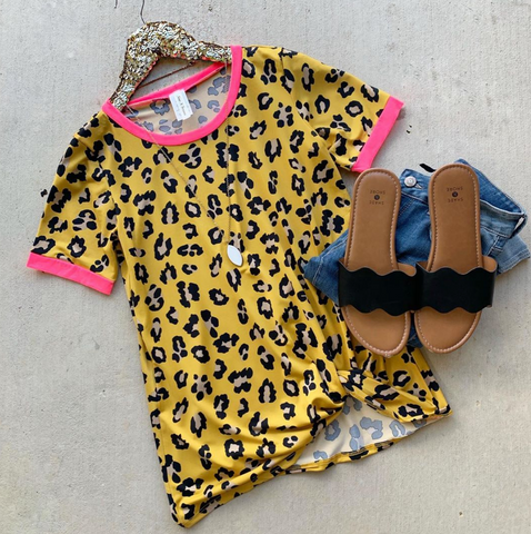 Be You Mustard Leopard Top