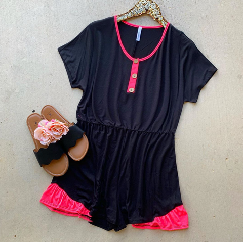 Carefree Black and Pink Romper