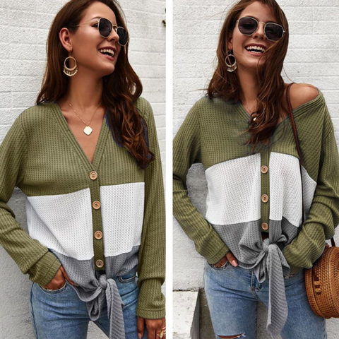 Olive Colorblock Waffle Top