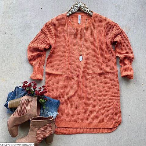Pre-Order- Waffle Tunic Coral