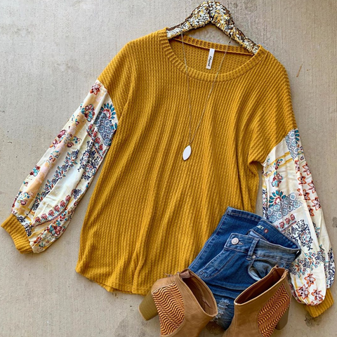 Lost in Time Mustard Top