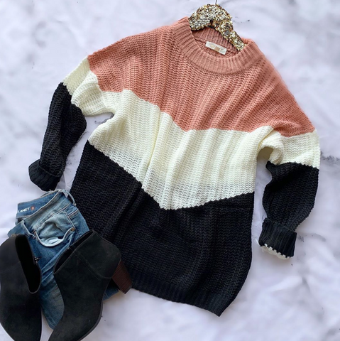 Always Happy Colorblock Sweater