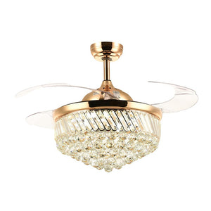 Ceiling Fan with Crystal LED Light and Retractable Blades