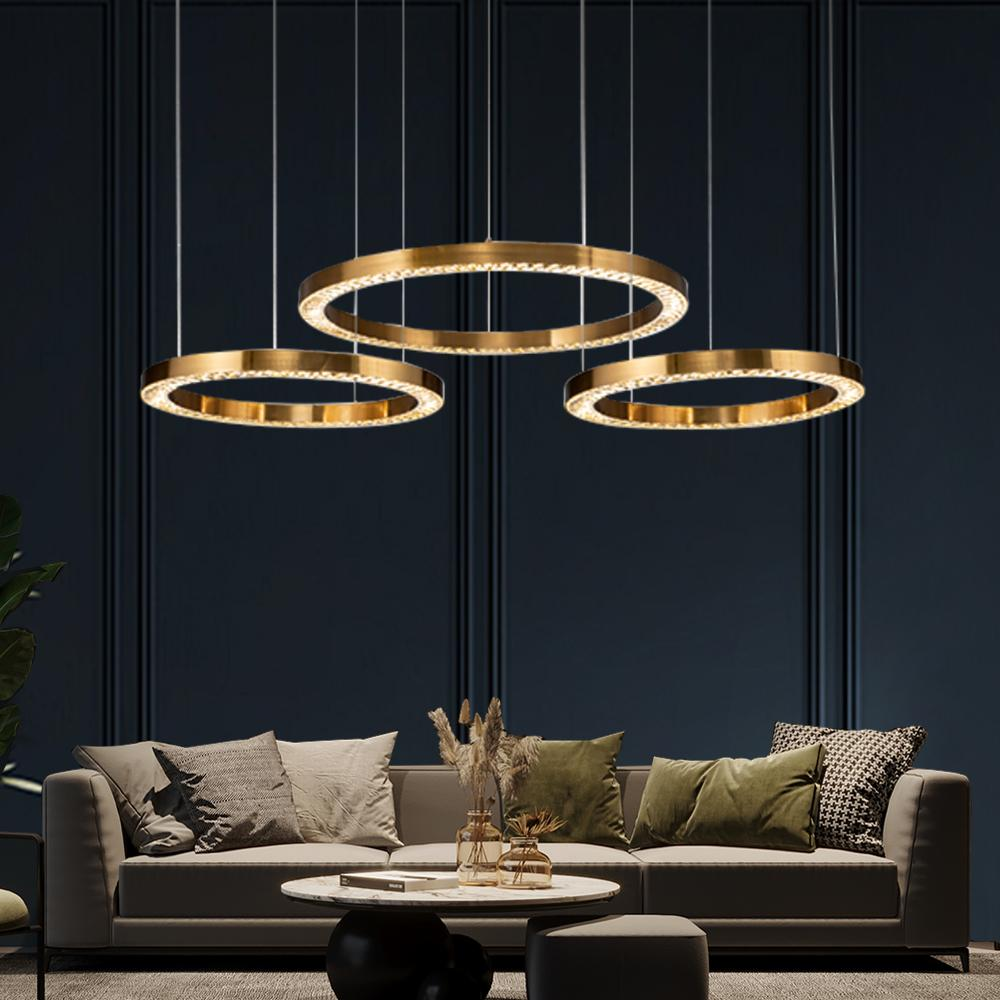 Crystal Gold Ring Pendant Light