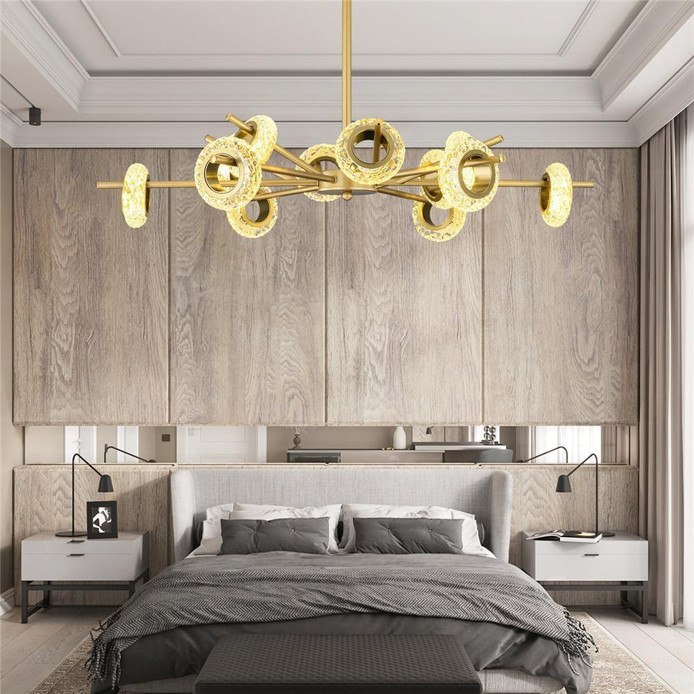 Sputnik Chandelier with Glass Lampshade Gold