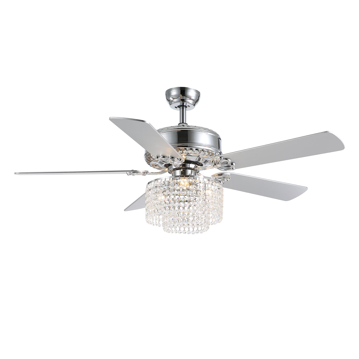 Ceiling Fan with Finished Blades and Crystal Shade