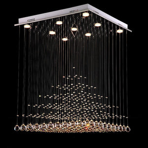 Square Pyramid Raindrop Crystal Chandelier
