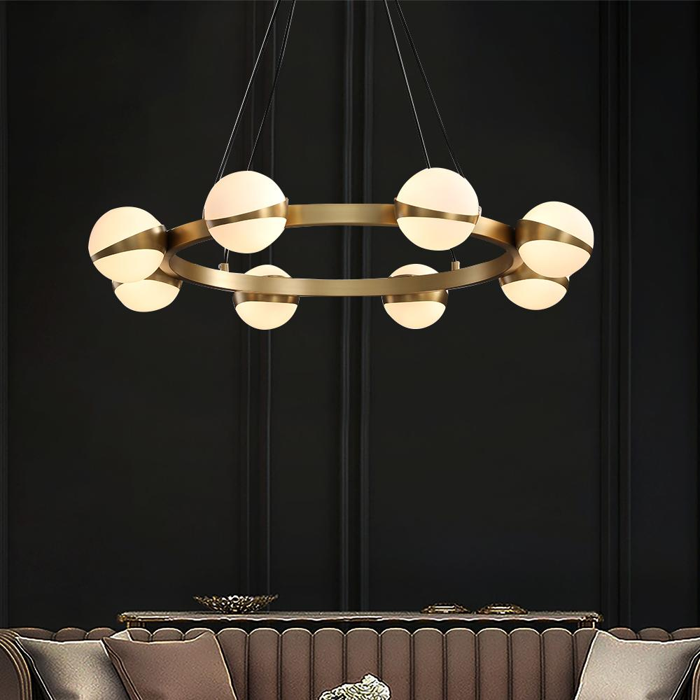 Rings Chandelier with Round Ball Bulbs