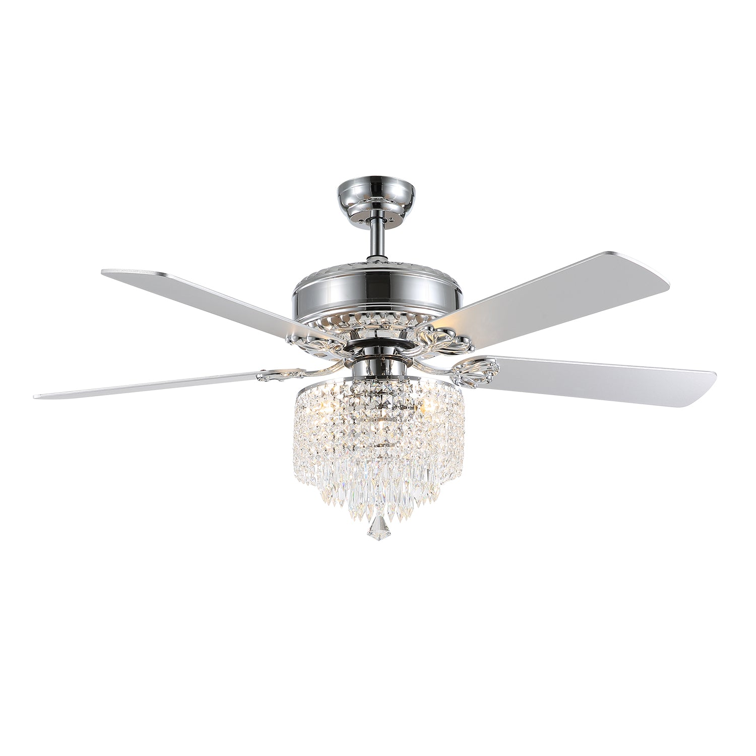 Retro Ceiling Fan with Crystal Shade