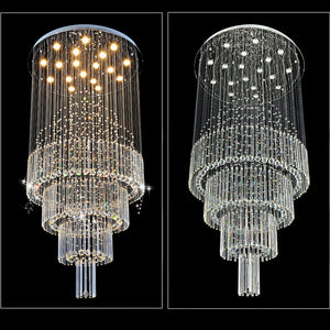 Multi-Layer Raindrop Chandelier with Crystal Ball