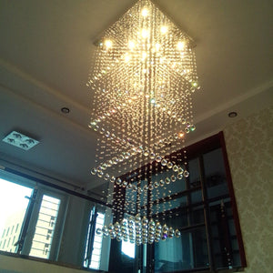 Square Ceiling Raindrop Crystal Chandelier
