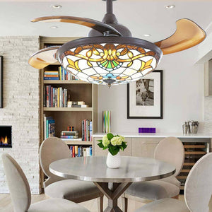 Tiffany Style Retractable Ceiling Fan With Lights Siljoy Lighting
