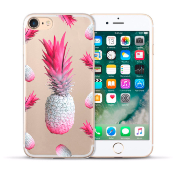 Pink pineapple print cover til iPhone 7 / iPhone 8