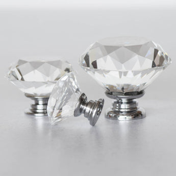 Glas klar diamant greb, 50 mm