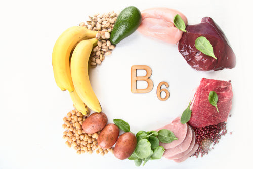 """Image of """"B6"""" surrounded by foods with B1"""