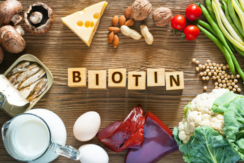 """Image of tiles that spell """"biotin"""" surrounded by foods with B1"""