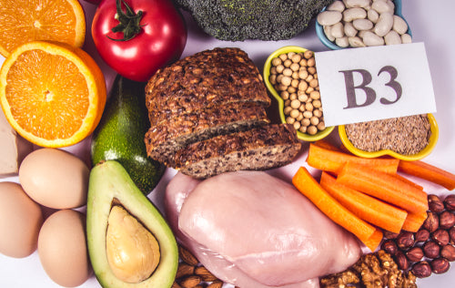 Image of paper that says 3 surrounded by foods with B1