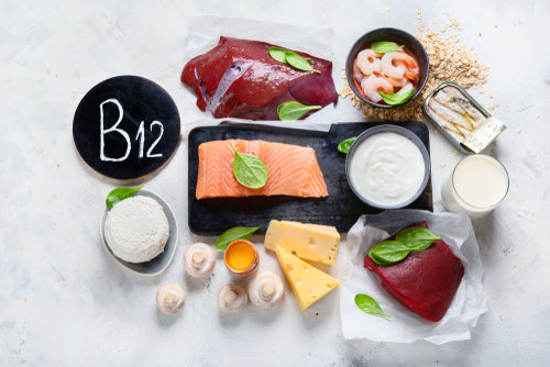 Image of paper that says B12 surrounded by foods with B1