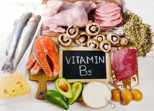 Image of paper that says B5 surrounded by foods with B1