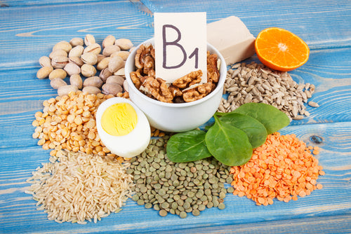 Image of paper that says B1 surrounded by foods with B1