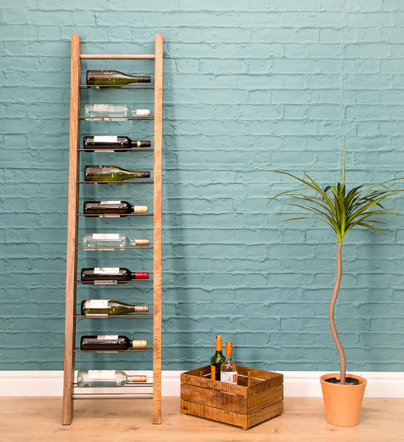 Wine racks large and small created from wood, metal or leather