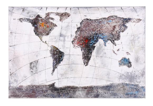 Hand Painted World Map Canvas with Gold Leaf