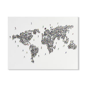 Handpainted World Map Canvas