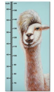 Hand Painted Childrens Height Chart Canvas - Alpaca