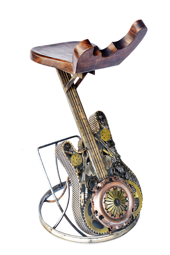 Recycled Wrought Iron Guitar Chair with Shaped Timber Seat