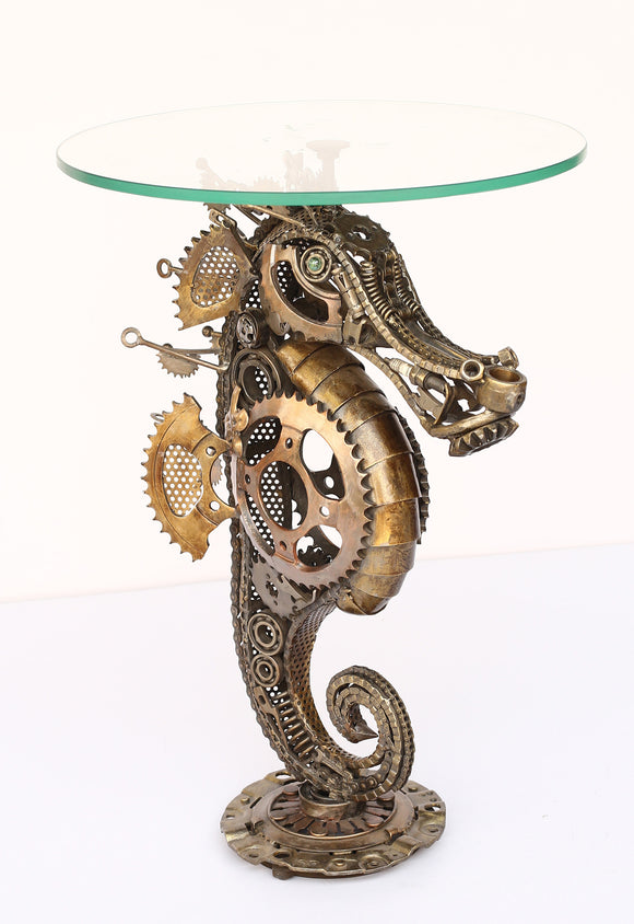 Recycled Wrought Iron Sea Horse Side Table