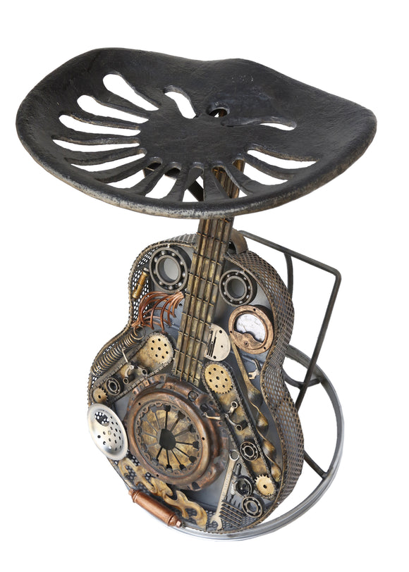 Recycled Wrought Iron Guitar Stool with Tractor Seat