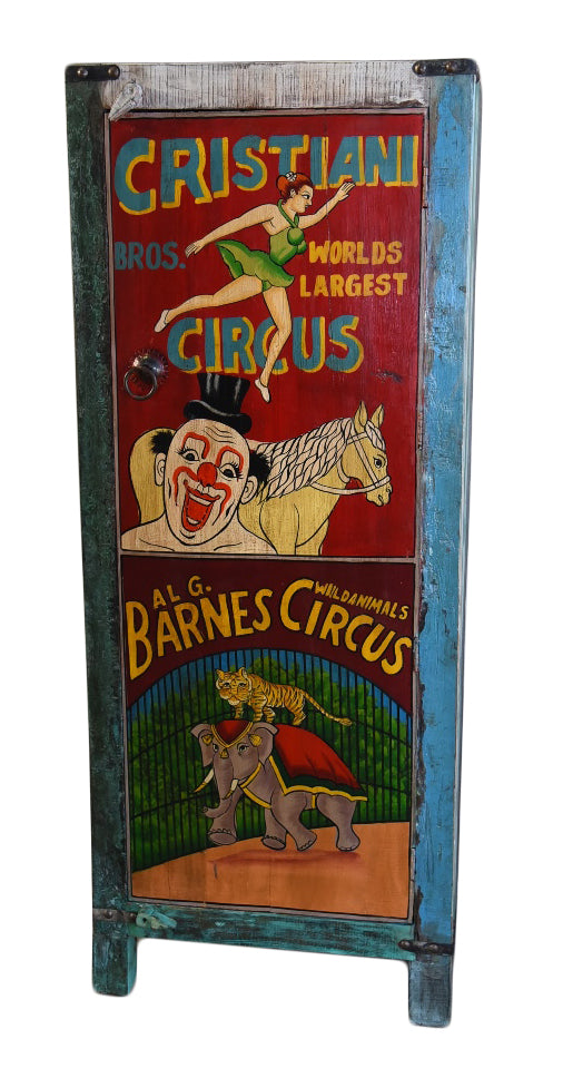 Hand Painted Vintage Circus Ad Single Door Cupboard