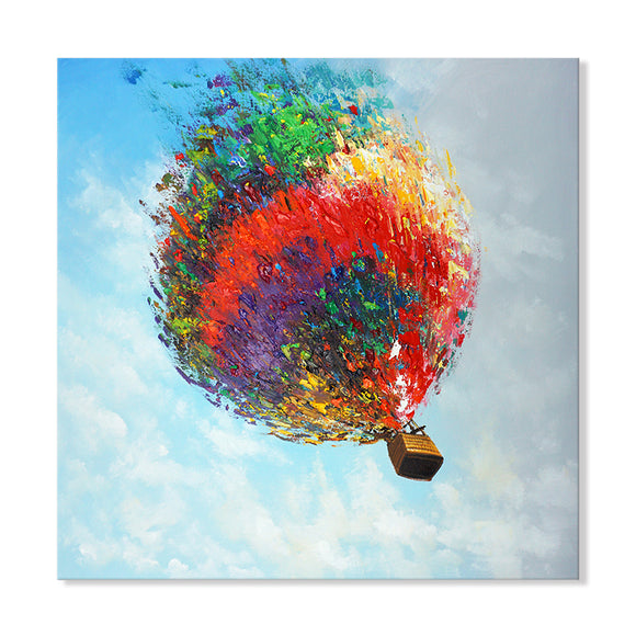 Hand Painted Hot Air Balloon High Texture Canvas