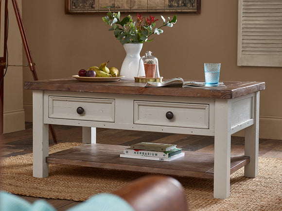 Hamptons Coffee Table with 2 Drawers