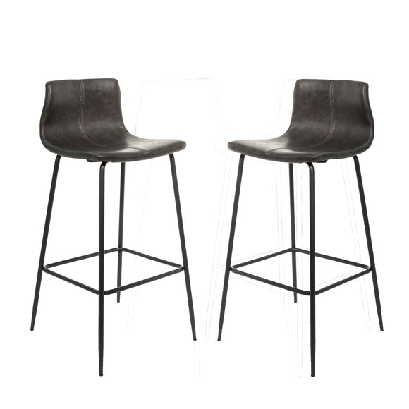 Set of 2 Oslo Barstools in Vegan Leather - Grey