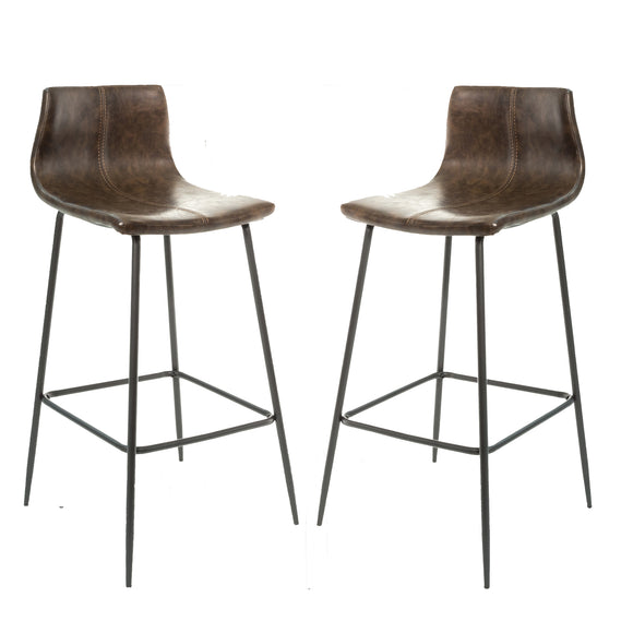 Set of 2 Oslo Barstools in Vegan Leather - Chestnut