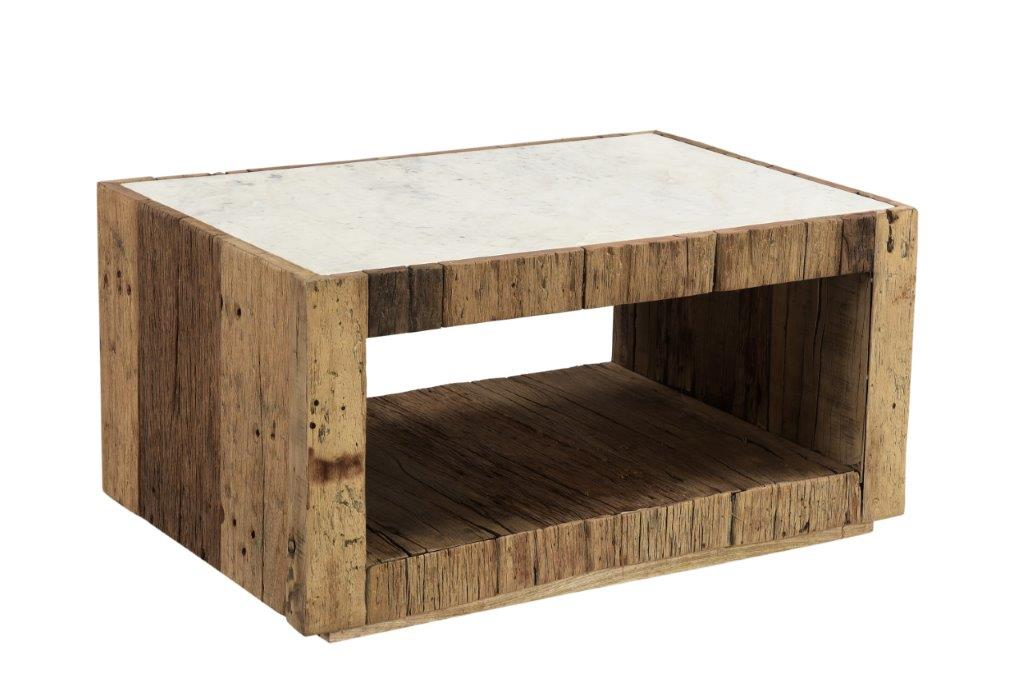 Reclaimed natural wood and marble occasional furniture