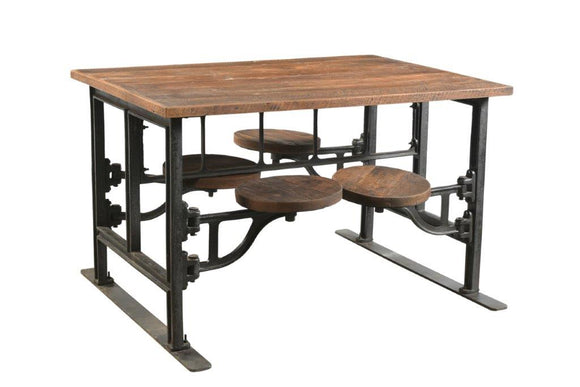 Four Seater Iron and Wood Industrial Dining Table with Adjustable Swivel Seating