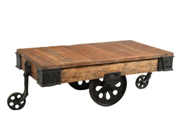 Upcycled Iron Trolley Coffee Table