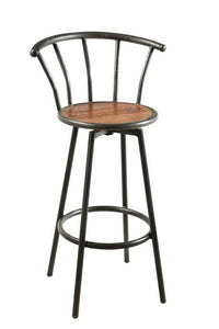 Iron Bar Stool with Back