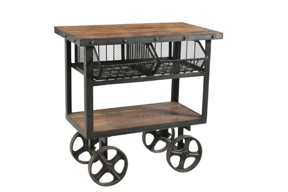 Iron and Reclaimed Timber Trolley with 2 Metal Baskets
