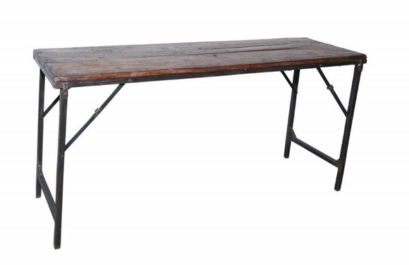 Iron and Wood Folding Bar Table