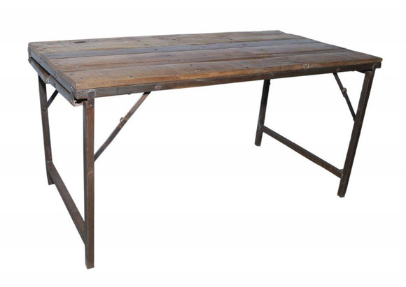 Iron and Wood Folding Dining Table