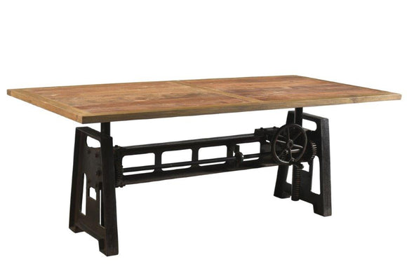 Cast Iron Industrial Dining Table Adjustable Height With Reclaimed Timber Top