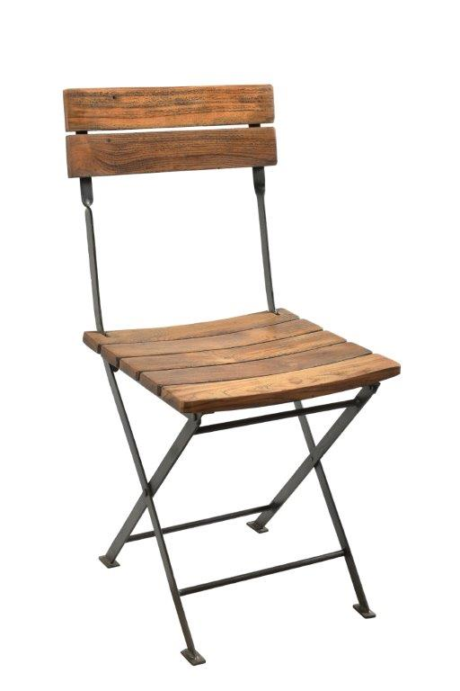 Folding Chair with Iron Frame and Wooden Back and Seat