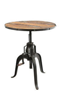 Round Café Dining Table with Adjustable Iron Base