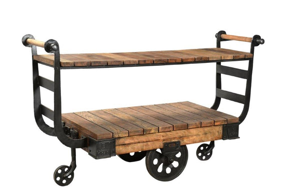 Antique Iron Display Trolley with Wheels and Shelf